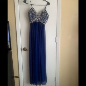 My Michelle blue and rhinestone dress